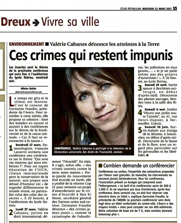 La conférence de Valérie CABANES dans la Presse