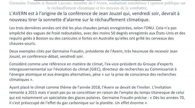 La conférence de Jean Jouzel annoncée dans la presse